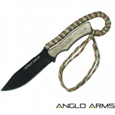 9 inch Aztec Fixed Black Blade Knive with wooden handle, wrapped with desert camo paracord