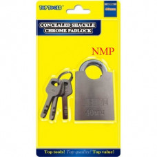 40MM CONCEALED SHACKLE CHROME PADLOCK TOP TOOLS